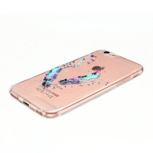 Cover iPhone 6 plus Custodia iPhone 6s plus Silicone Anfire Morbido Flessibile TPU Gel Case Cover per Apple iPhone 6 plus/6s plus (5.5 Pollici) Ultra Sottile Clear Trasparente 3D Copertura Antiurto Bu Piume Blu
