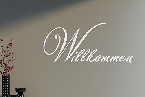 Willkommen Flur Diele Eingang Wandtattoo Wandaufkleber Aufkleber 50x24cm B213 (weiß)