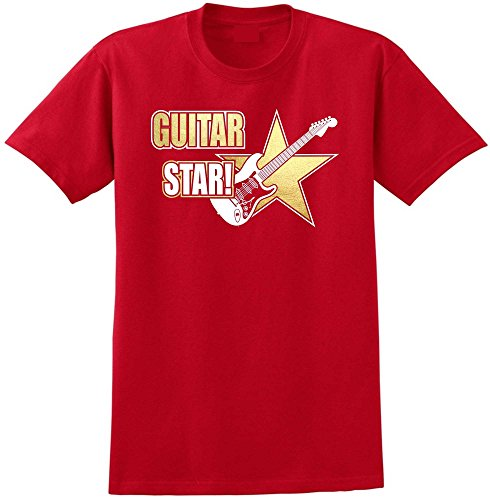Electric Guitar Star - Red Rot T Shirt Größe 87cm 36in Small MusicaliTee (Prs Picks)