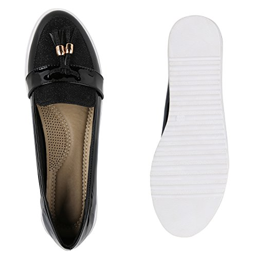 Signore Pantofola Lacca Plateau Mocassini Metallici Scarpe Profilo Sole Mocassino Appartamenti Glitter Pantofole Nappe Perforazione Flandell Nero Nappe Lacca