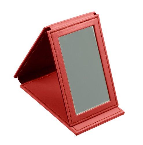Lucrin Trousse à Maquillage Miroir Rectangulaire de Poche Cuir Vachette Lisse 11 cm Rouge PM1095_VCLS_RGG