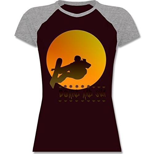 Après Ski - Board and Sun - zweifarbiges Baseballshirt / Raglan T-Shirt für Damen Burgundrot/Grau meliert