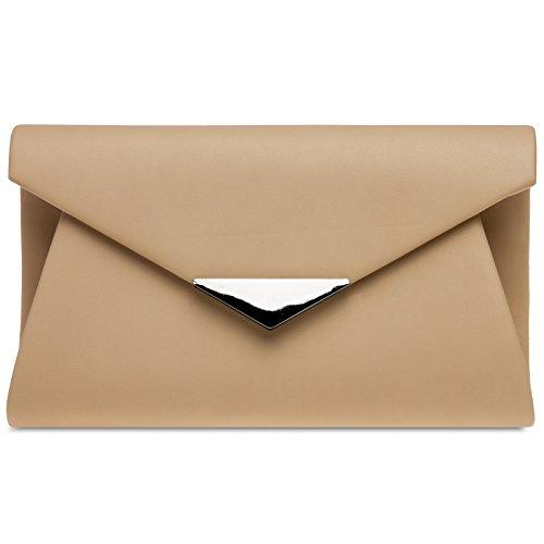 CASPAR TA363 elegante Damen XL Envelope Clutch Tasche/Abendtasche/Umhängetasche mit langer Kette, Farbe:nude;Größe:One Size