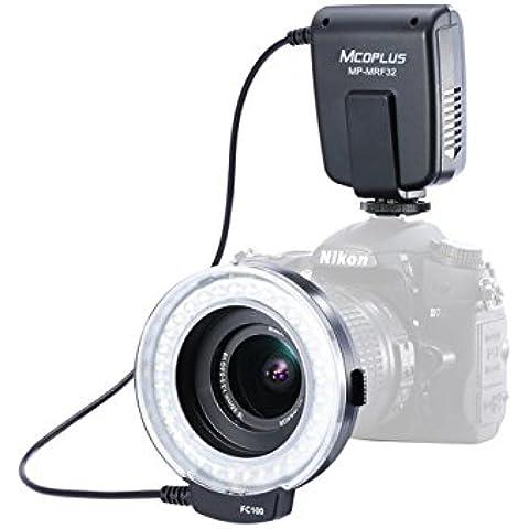 Meike FC100 - Anillo de flash para cámara digital Canon y Nikon (32 ledes, incluye 7 anillos adaptadores)