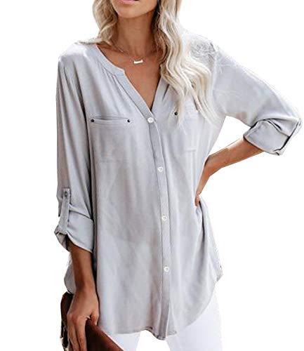 Ehpow Damen Langarm V-Ausschnitt Bluse Einfarbig Casual Button Down Oberteile Shirts(X-Large,Grau)