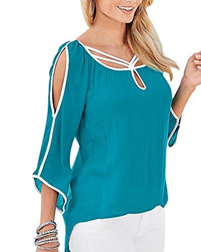 Femme T-Shirt Epaule Nue Chemise Chemisier Col Rond Casual Eté Bleu Vert