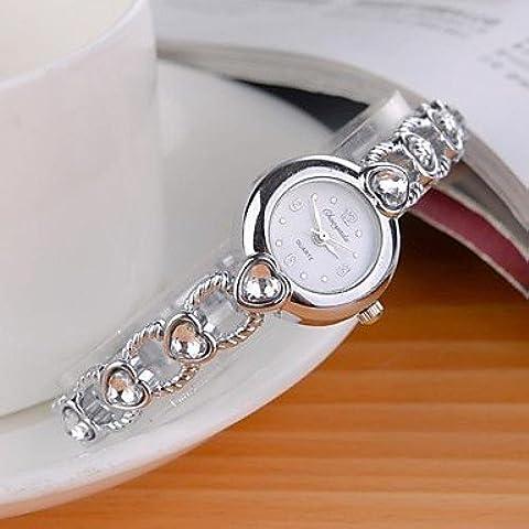 Reloj de pulsera de cuarzo analógico banda en forma de corazón de la aleación de oro de la mujer (colores surtidos) ( Color : Blanco )