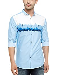 SHOWOFF Men's Cotton Full Sleeve Slim Fit Printed Casual Shirt (BlueValley2637_Blue)