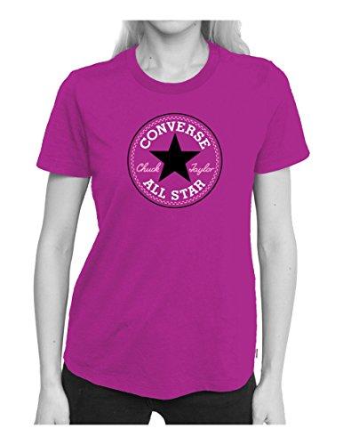 Converse Damen Solid Chuck Patch Tee T-Shirt, Magenta Glow, s (Kurzarm-t-shirt Glow)