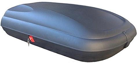 Dachbox Carbon Optik VDP CA320 günstiger Auto Dachkoffer 320 Liter abschließbar + Alu-Relingträger Dachgepäckträger für aufliegende Reling im Set für Audi A4 (8K) Avant (Test 2008)