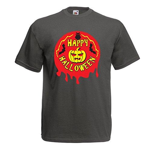 Männer T-Shirt Happy Halloween! - Party Clothes - Pumpkins, Owls, Bats (Small Graphit Mehrfarben)