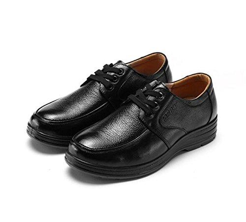 GRRONG Chaussures En Cuir Pour Homme En Cuir Véritable Noir Loisirs Black