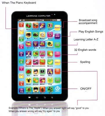 Ktrs P1000 Kids Educational Learning Tablet Computer, Multicolour