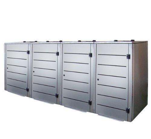 Mülltonnenbox, Modell Eleganza, mit waagerechten Schlitzen in der Tür, für vier 120 Liter Müllbehälter - 2
