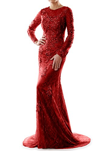 MACloth Women Mermaid Long Sleeve Lace Evening Formal Gown Wedding Party Dress Burgunderrot