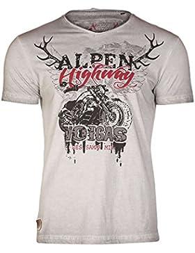 Hangowear Herren Trachten T-Shirt V-Ausschnitt Alpen Highway Grau, Hellgrau,