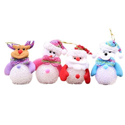 BESTOYARD 4 stücke Weihnachten Puppe Ornamente mit LED Leuchten Weihnachtsmann Schneemann Rentier Bär Weihnachtsbaum Hängen Dekorationen Urlaub Partei Liefert Ornamente -