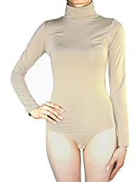 Damen Body Bodysuit Unterziehbody Rollkragen Jersey Rollkragenbody Langarm