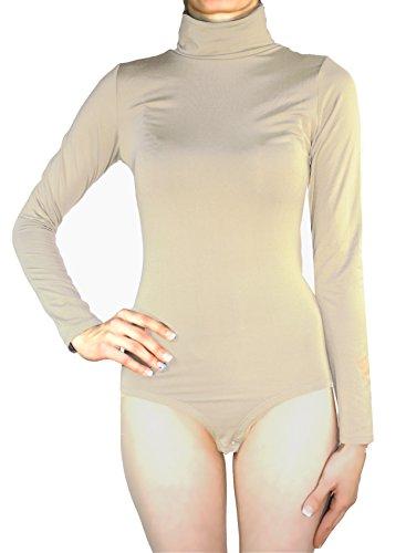 Body Damen Langarm Rollkragen Thermobody elastisch l Bodysuit Top vielen Farben Größe S M L (L/40, Hautfarbe)