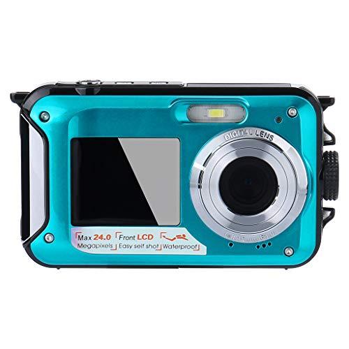 Digitalkamera Unterwasserkamera 24 MP Videorecorder Full HD 1080P Selfie Dual Screen wasserdichte Kamera DV-Aufnahmepunkt und Digitalkamera aufnehmen (Blue)