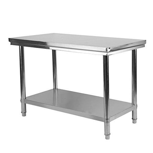 Blackpoolal Arbeitstisch Edelstahl Garten Küche Gastro Tisch Edelstahltisch Küchentisch Arbeitstisch Anrichte Silber (120 x 60 x 80CM)