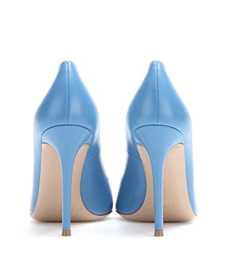 EDEFS Damen Klassische Büro Pumps Spitze Zehen Glitzer Stiletto Absatz Braut Hochzeit Schuhe mit Mehrfarbig Skyblue