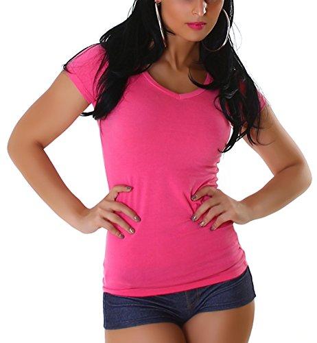 Jela London Damen T-Shirt lang Longshirt Basic eng-anliegend einfarbig V-Ausschnitt Kurzarm, Pink 40 (XXL) - Wieder Damen Rosa T-shirt