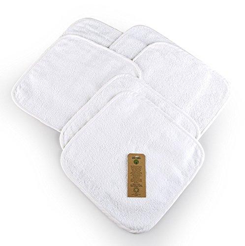 Arus - Juego de 6 toallitas de baño para bebé, 30x 30cm, tejido de rizo de 100{7d1ded4383ff5d5b55967661a2cb9e70127c3701267e6ef885c277454458c5b3} algodón ecológico, con certificado GOTS blanco Weiß Talla:30 X 30 cm