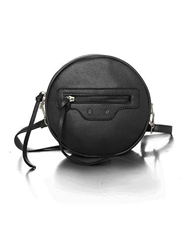 sourcingmap® Donne Cintura rimovibile Zip rotondo chiusura PU Tracolla Borsa Rosa Black