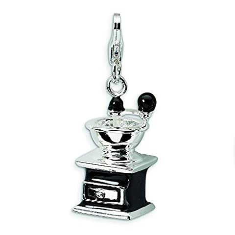 Sterling Silver 3-D Enameled Black Coffee Grinder With Lobster Clasp Charm - Measures 32x12mm