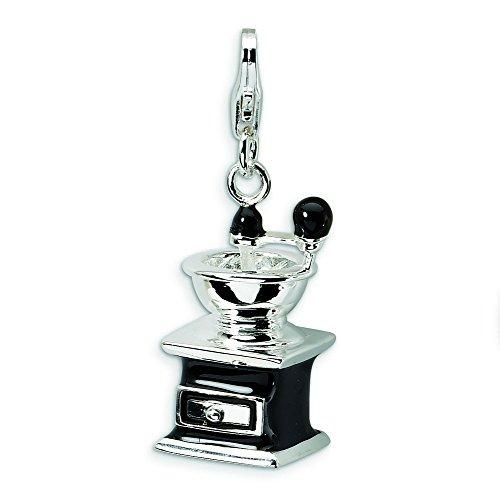 Sterling Silber 3-D Kaffeemühle Charm mit Karabinerverschluss Emaille Schwarz - Maße 32 x 12 mm