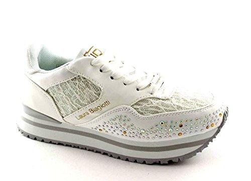 LAURA BIAGIOTTI 892 white bianca scarpe donna sneakers brillantini 37