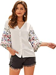 SheIn Women's Boho V Neck Button Front Floral Embroidery Sleeve Blouse