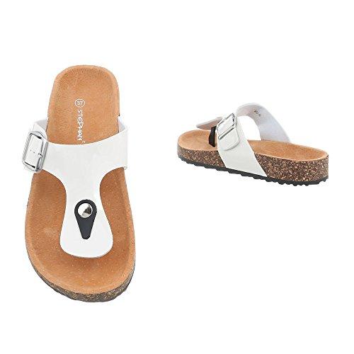 Ital-Design Chaussures Femme Sandales Plat Havaianas Tongs FitFlop blanc KU-8