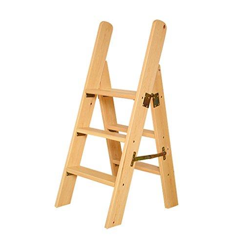 Blumentreppen Aufsteigende Leiter aus massivem Massivholz, doppelte Seitenleiter des Pavillons, klappbare Leiter aus Holzleiter mit Handlauf (Color : Wood Color, Size : 45 * 60 * 110cm)