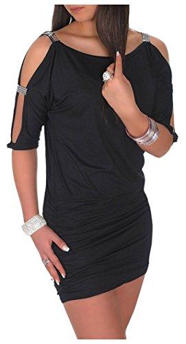Glamour Empire Damen Tunik Top mit Armschlitz Mini-Kleid Schwarz Partykleid 157 (Schwarz, EU 38/40, M)