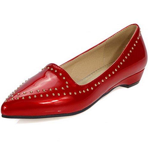 AllhqFashion Damen Spitz Zehe Pu Leder Eingelegt Niedriger Absatz Pumps Schuhe Rot