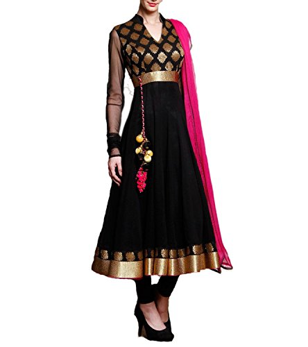 Jsv Fashion Women's Georgette Anarkali Salwar Suit Set (Jecky Black_Black_Free Size)