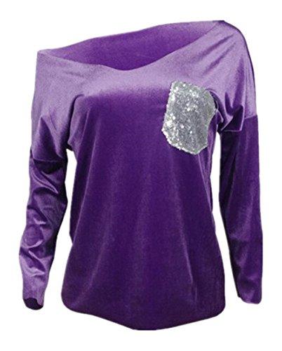 BESTHOO Tops Donna Collare V Moda Elegante Maglie A Manica Lunga Maglietta Paillettes Camicetta Comode T Shirt Top Morbidi Purple