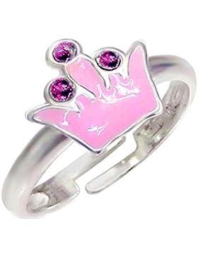 SL-Silver Mädchen Damen Ring Krone Kristalle Grösse einstellbar 925 Sterling Silber in Geschenkverpackung