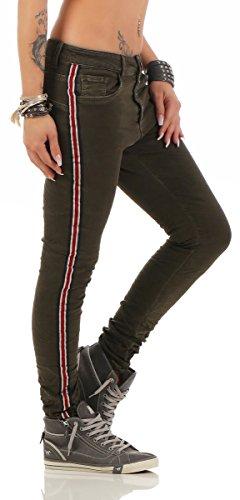 11309 Fashion4Young Damen Jeans Röhrenjeans Hose Stretch-Denim Damenjeans Boyfriend Baggy Jeans Dunkelgrün