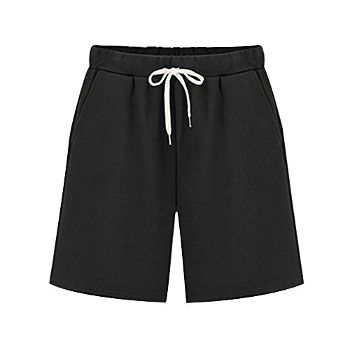 Sobrisah Women's Elastic Waist Soft Knit Jersey Bermuda Shorts with Drawstring