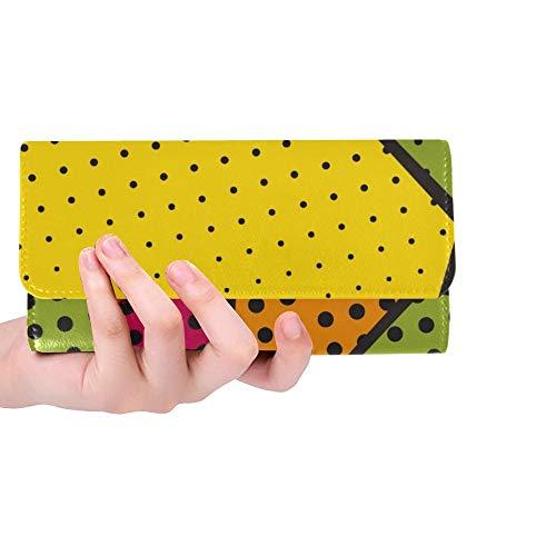 rdefinierte abstrakte Bunte Popart Stil halbton Frauen Trifold Brieftasche Lange geldbörse kreditkarteninhaber Fall Handtasche ()