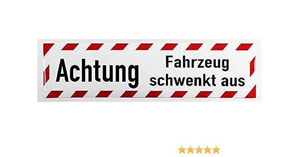 Lohofol Kfz Aufkleber Achtung Fahrzeug Schwenkt Aus Wetterfeste Und Uv Beständige Spezialfolie 60 X 15 Cm Auto