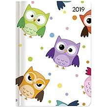 Ladytimer Funny Owls 2019 - Eulen - Taschenkalender A6 - Weekly - 192 Seiten - Notizen