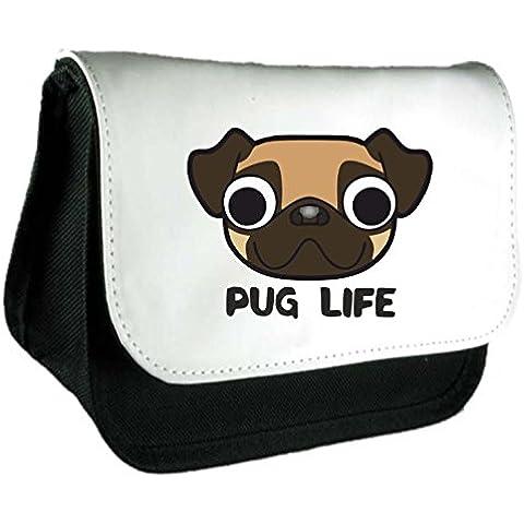 Cute Pugs Face Pug Life Thug Life parodia divertente animali a tema Frizione Borsa o Astuccio Misura unica Black - Zebra Porta Penne