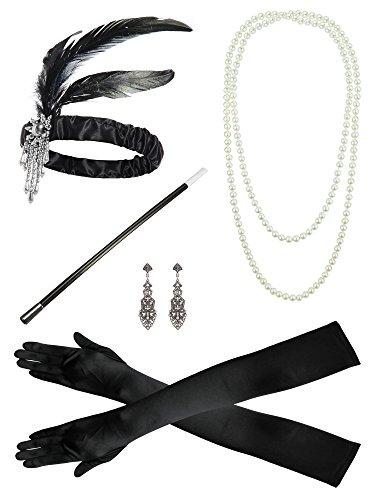 Guanti della collana della perla della fascia degli anni 20 Accessori del vestito operato Insieme del costume della flapper
