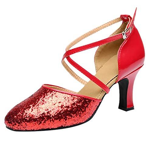 Eleganti Scarpe a Tacco Alto da Donna, Sandalo Antinfortunistica, JiaMeng Scarpe Danza Latina Baotou Liceo con Scarpe da Ballo Quadrate con Fondo Morbido Rumba Scarpe da Ballo Rosso