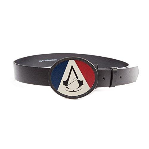 Assassins Creed Unity French Classic und Trikolore Flagge Wappen Logo Oval Schnalle mit Gürtel (klein, schwarz) (Ovale Logo-t-shirt)