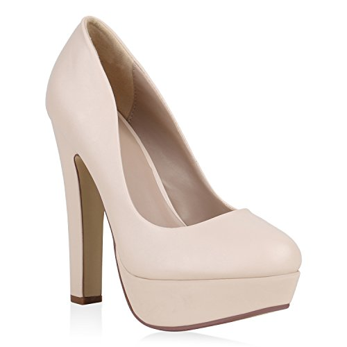 Damen Plateau Pumps Party High Heels Leder-Optik Abend Schuhe 160189 Creme 36 Flandell